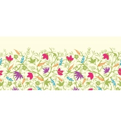 Painted blossoming branches horizontal seamless vector image