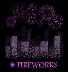 Purple firework show on night city landscape vector