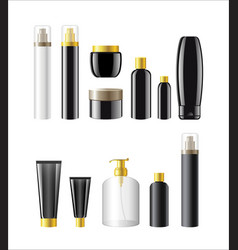 cosmetic items packaging - realistic set of vector image