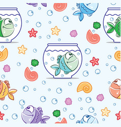 Pattern fish color vector