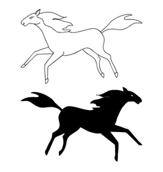 Horse sketch and silhouette vector