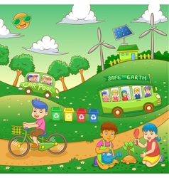 Children save our green world vector
