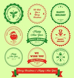 Merry christmas and happy new year label stamp vector