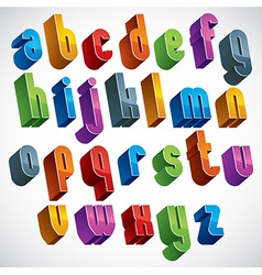 3d font colorful letters geometric dimensional vector
