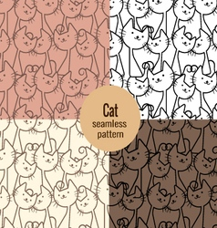 Cat seamless patterns set vector
