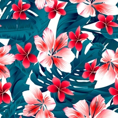Red and white tropical hibiscus flowers seamless vector