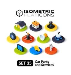 Isometric flat icons set 35 vector image