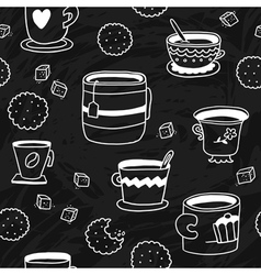Cute doodle seamless pattern with cups cookies and vector