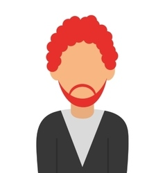Faceless red hair man with beard portrait icon vector