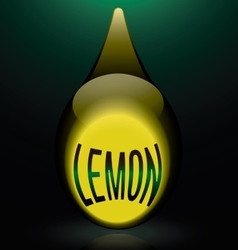 Glass drop green reflection text lemon vector