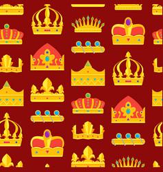 cartoon royal golden crown background pattern vector image