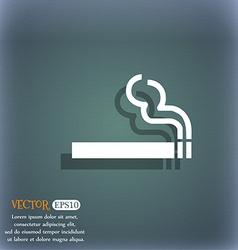 Cigarette smoke icon symbol on the blue-green vector