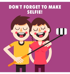 Couple taking selfie vector image vector image