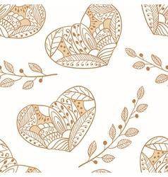 Doodle heartsoutline seamless pattern vector image