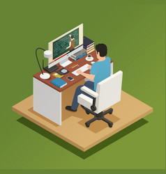 Elearning isometric composition vector
