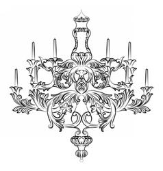 Exquisite rich baroque classic chandelier vector