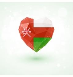 Flag of oman in shape diamond glass heart vector