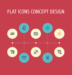 flat icons fishes comet lion and other vector image vector image