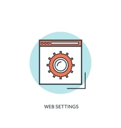 Flat lined web settings icon gear symbol tools vector
