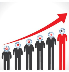 Growth graph with businessman s face vector image vector image