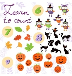 Learn to count Halloween related cute collection vector image