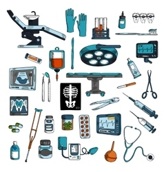 Medical instruments and equipments sketch icons vector image vector image