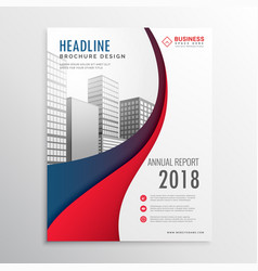 Modern red and blue wave business brochure vector