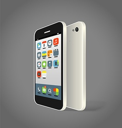 Modern smartphone with different color icons vector image