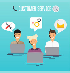 operators of call center office working in vector image