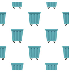 Outdoor blue trash can pattern seamless vector