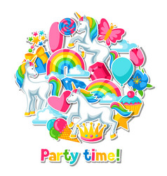 Party time card with unicorn and fantasy items vector