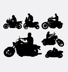 People riding motorbike silhouettes vector image