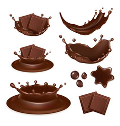 realistic chocolate form icon set vector image vector image