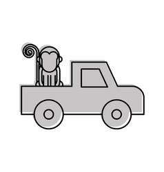 Safari van of plato with monkey vector