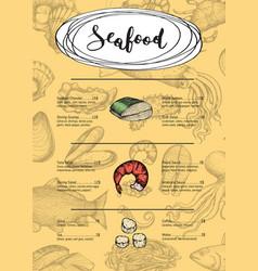Seafood restaurant menu vintage template vector