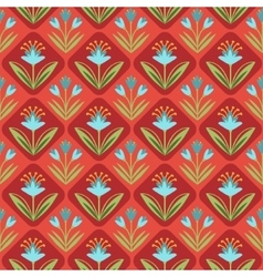 Seamless Pattern with floral ornament on red vector image vector image