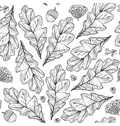 Seamless texture with leaves and flowers on white vector