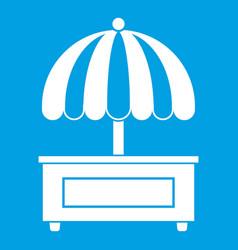 Shopping counter with umbrella icon white vector