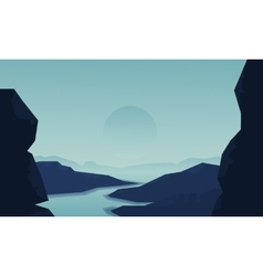 Silhouette of cliff and river vector