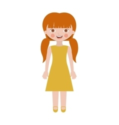 sweet girl with pigtails and dress vector image