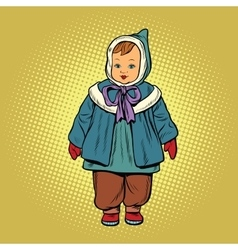 Toddler retro clothes doll vector