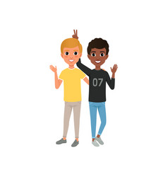 two friends having fun happy teenagers friendly vector image