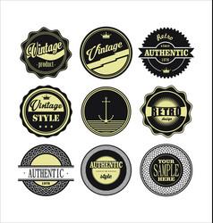 Vintage labels black and beige set 1 vector