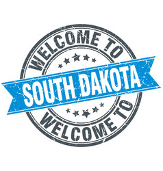 Welcome to south dakota blue round vintage stamp vector