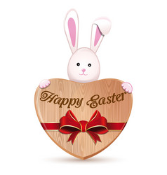 Wooden heart and easter bunny happy easter vector