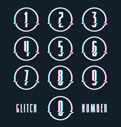 Decorative numbers with glitch distortion effect vector