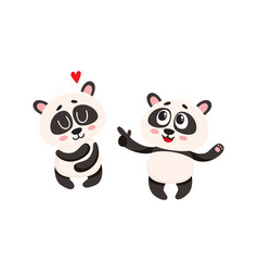 Two baby panda characters one pointing to another vector
