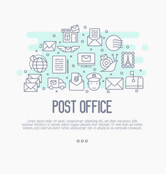 Post office concept with thin line icons vector