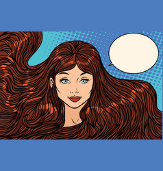 Smiling brunette with long hair vector