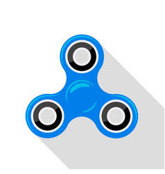Flat design blue hand spinner no gradient or vector